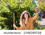 Young Woman In Yard Backyard...