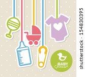 baby shower design over dotted... | Shutterstock .eps vector #154830395