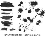 set half toned spots  splashes. ... | Shutterstock .eps vector #154831148