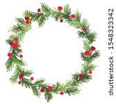 christmas fir wreath with red... | Shutterstock .eps vector #1548323342