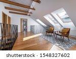 Small photo of Modern interior design - garret in wooden finishing