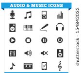 vector set of music and audio...   Shutterstock .eps vector #154842032