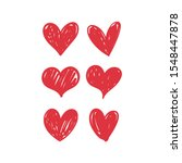 doodle hearts  hand drawn love... | Shutterstock .eps vector #1548447878