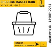 shopping basket icon with line...