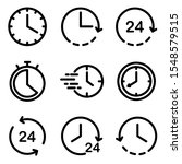 set of clock icon. symbol of...