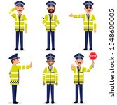 set characters traffice police... | Shutterstock .eps vector #1548600005