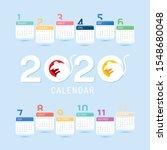 calendar 2020. vector. chinese... | Shutterstock .eps vector #1548680048