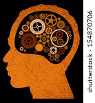 abstract head with cogs and... | Shutterstock . vector #154870706