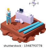vector isometric drone survey... | Shutterstock .eps vector #1548793778