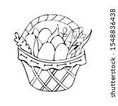 basket with easter eggs art... | Shutterstock .eps vector #1548836438