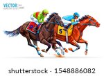 two racing horses competing... | Shutterstock .eps vector #1548886082