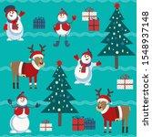 cute snowman  reindeer ... | Shutterstock .eps vector #1548937148