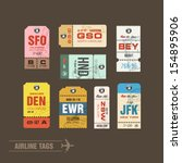 collection of vintage airline... | Shutterstock .eps vector #154895906