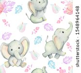 Cute Baby Elephants  Watercolor ...