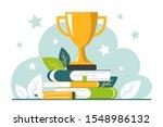 golden trophy cup standing on... | Shutterstock .eps vector #1548986132