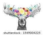 moose with flowers in antlers ... | Shutterstock . vector #1549004225