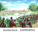 Medieval cannons bombard the fortress. Military illustration.