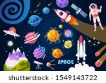 set of space colorful cartoon... | Shutterstock .eps vector #1549143722