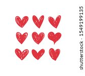 doodle hearts  hand drawn love... | Shutterstock .eps vector #1549199135