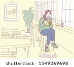 a girl is sitting in a cafe and ... | Shutterstock .eps vector #1549269698