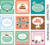 happy birthday card set | Shutterstock .eps vector #154931795