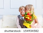 a girl is kissing a boy. studio ... | Shutterstock . vector #154934582