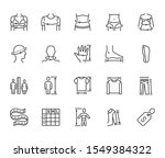Clothes Size Flat Line Icons...