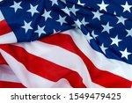 Us American Flag On White...