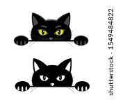 peeping black cat with yellow... | Shutterstock . vector #1549484822