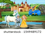 scene with knight and princess... | Shutterstock .eps vector #1549489172