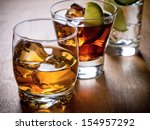 various alcoholic cocktails on... | Shutterstock . vector #154957292