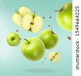Flying Fresh Green Apple With...
