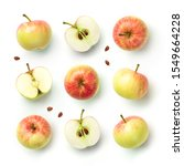 fresh apples with seeds...   Shutterstock . vector #1549664228