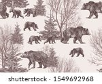 Landscape With Bears  Cubs ...