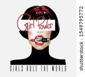 girl power. vector hand drawn... | Shutterstock .eps vector #1549795772