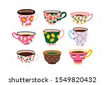 set of various cups with tea or ... | Shutterstock .eps vector #1549820432