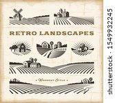 Retro Landscapes Set. Editable...
