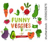 vector vegetables cartoon set... | Shutterstock .eps vector #1550025875