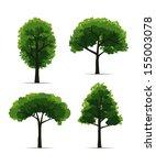 set of trees on white... | Shutterstock .eps vector #155003078