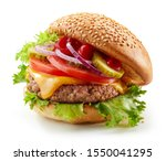 Fresh Tasty Burger Isolated On...