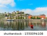 Meuse river and Citadel of Namur fortress on the hill, Namur, Wallonia, Belgium