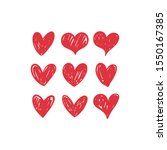 doodle hearts  hand drawn love... | Shutterstock .eps vector #1550167385