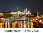 moscow kremlin night view from... | Shutterstock . vector #155017568