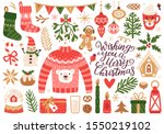 vector set of holiday icons ... | Shutterstock .eps vector #1550219102
