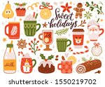 vector set of holiday drinks.... | Shutterstock .eps vector #1550219702