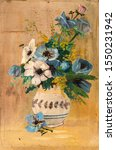 Vintage Oil Painting Of Flowers ...