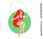 fit woman jumping on rope... | Shutterstock . vector #1550283848