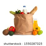 paper bag full of products on...   Shutterstock . vector #1550287325