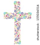 Cross With Flowers On White...