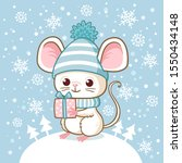 cute little mouse in a winter... | Shutterstock .eps vector #1550434148